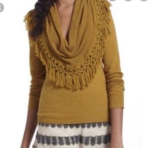 Anthropologie Fringed Cowl-Neck Sweater
